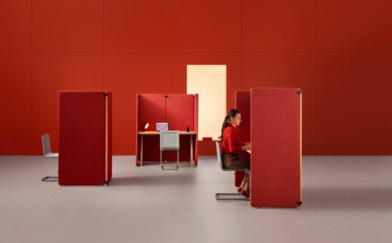 Duo - obustronne ekrany akustyczne biurkowe, wolnostojące i wiszące. Producent MuteDesign Dystrybutor: Vipservice