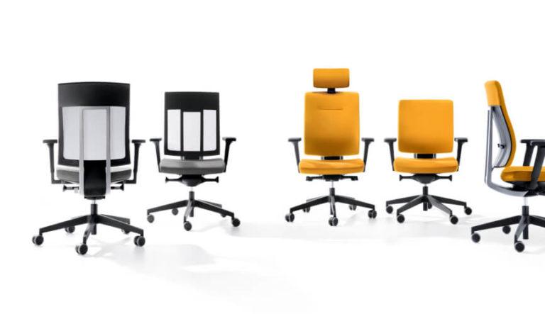 Xenon kolekcja pracowniczych krzeseł obrotowych i hokerów. Producent: Profim Dystrybutor: Vipservice